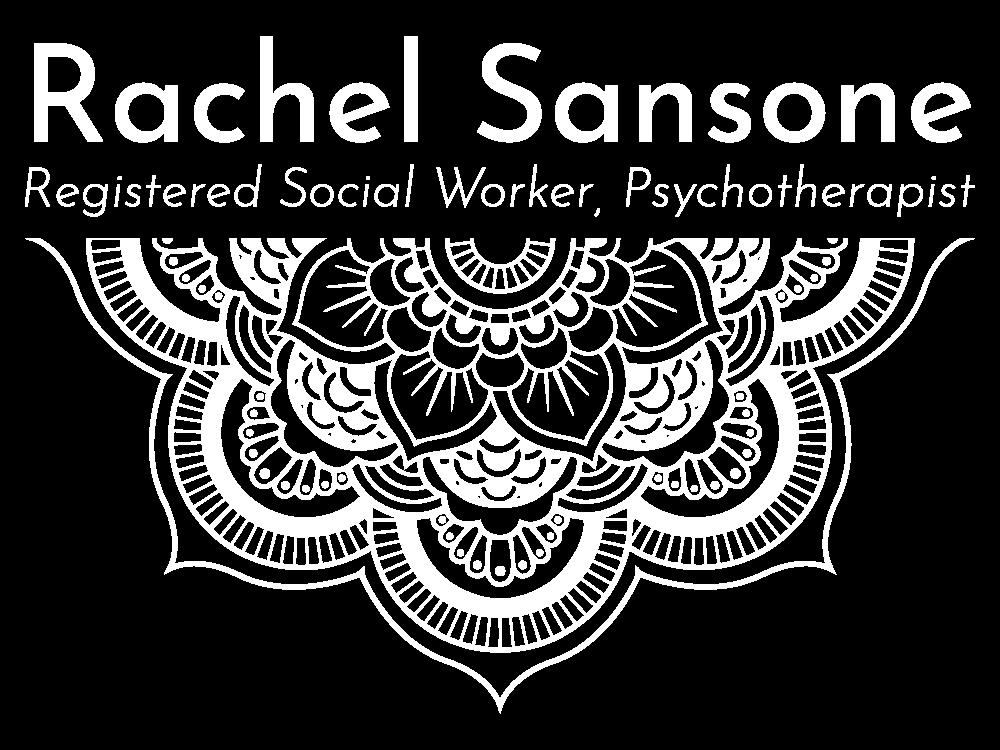 Rachel Sansone Vertical White Logo